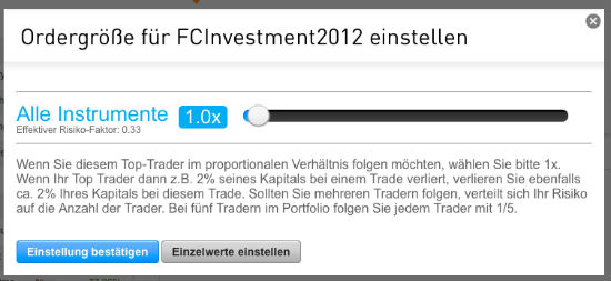 Ordergröße FCInvestment2012